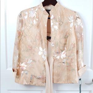 Sheer blazer with tank metallic flowers